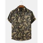 Оригинал              Мужские повседневные рубашки с коротким рукавом в этническом стиле с принтом пейсли