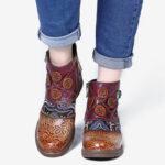 Оригинал              SOCOFY Ретро Цветочный Шаблон Регулируемый Повседневный Круглый Носок Застежка-Молния Ботинки