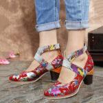 Оригинал              SOCOFY Змеиная кожа Натуральная Кожа Сращивание цветов Шаблон Удобные туфли-лодочки на массивном каблуке на молнии