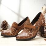 Оригинал              SOCOFY Retro Натуральная Кожа Vine Шаблон Solid Color Elegant Крюк Круглые туфли-лодочки