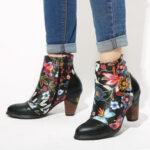 Оригинал              SOCOFY Женская повседневная черная с цветочным рисунком на теплой подкладке с наборным каблуком до щиколотки Ботинки