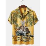 Оригинал              Мужские тропические Растение с принтом Revere воротник Свободные повседневные рубашки с коротким рукавом