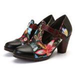 Оригинал              SOCOFY Folkways Colorful Цветочная вышивка Натуральная Кожа Ретро Т-образный ремешок Платье Туфли-лодочки для Женское