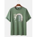 Оригинал              Хлопок с принтом животных Круглый Шея Дышащие футболки с коротким рукавом