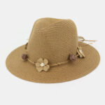 Оригинал              Женщины Солнцезащитный крем Travel Пляжный Солнце Шапка Цветочное оформление Элегантный джаз Шапка Солома Шапка