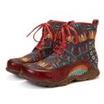 Оригинал              SOCOFY Богемный стиль Ретро с большой головой Soft Натуральная Кожа Сращивание плоской лодыжки Ботинки