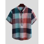 Оригинал              Мужские Винтаж плед цвет блока стиль воротник стойка половина кнопки случайные рубашки Henley