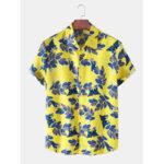 Оригинал              Мужские листья с принтом на пуговицах рубашки с коротким рукавом
