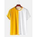 Оригинал              Мужские дышащие и тонкие повседневные круглые футболки Шея с цветными блоками