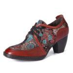 Оригинал              SOCOFY Retro Embroidery Flowers Натуральная Кожа Изящные туфли-лодочки на молнии