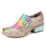 Оригинал              SOCOFY Bohemian Bloom Полихромные тисненые цветочные туфли Натуральная Кожа