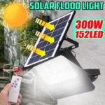 Оригинал              300 Вт Солнечная Работающий на LED уличном настенном паводке Лампа Сад Прожектор с 5М удлинителем Провод + Дистанционное Управление