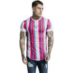Оригинал              Летняя мужская футболка для бега Спортзал Фитнес Футболка с короткими рукавами, плотно облегающая Повседневная футболка в полоску с быстр