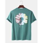 Оригинал              Мужская футболка с принтом Daisy, сплошной цвет, дышащая, свободная круглая футболка Шея