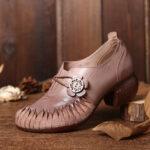 Оригинал              SOCOFY Retro Splicing Florals Elastic Стандарты Натуральная Кожа Туфли на массивном каблуке Soft Туфли-лодочки