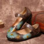 Оригинал              SOCOFY Ретро Кожа с тиснением Цветочный полый круглый носок Comfy Soft Подошва на плоской подошве