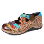 Оригинал              SOCOFY Ретро Цветочные Натуральная Кожа Сращивание цветов с перекрестным ремешком Крюк Туфли на плоской подошве Loop