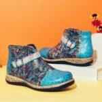 Оригинал              SOCOFY Folkways Шаблон Натуральная Кожа Сращивание щиколотки Comfy Flat Ботинки