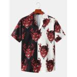 Оригинал              Мужские лоскутные дьявол с принтом Revere воротник с коротким рукавом дизайнерские рубашки