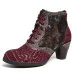 Оригинал              SOCOFY Ретро Натуральная Кожа Тисненая роза на молнии на высоком каблуке и щиколотке Ботинки