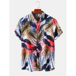 Оригинал              Рубашки с короткими рукавами и воротником отворотом с тропическими листьями