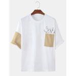 Оригинал              Мужские лоскутные сундуки с карманами Свободные повседневные футболки с круглым вырезом