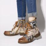 Оригинал              SOCOFY Retro Натуральная Кожа Газета Шаблон Застежка-молния на плоской подошве на шнуровке Ботинки