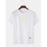 Оригинал              Хлопок Простой Sun Print Круглый Шея Дизайнерские футболки с коротким рукавом