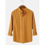 Оригинал              Banggood Разработанные мужские хлопковые воротник стойка Половина воротник сплошной цвет с длинным рукавом повседневные рубашки
