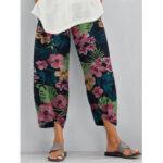 Оригинал              Женский цветочный принт с эластичной талией Daily Casual Брюки с боковыми карманами