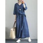 Оригинал              Винтажная повязка макси с v-образным вырезом и цветочным принтом с рукавами 3/4 Платье