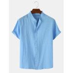 Оригинал              Мужские однотонные хлопчатобумажные льняные повседневные рубашки с коротким рукавом