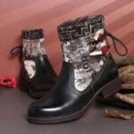Оригинал              SOCOFY Retro Натуральная Кожа Сращивание шерсти Colorful Сшивание Soft Плоское Короткое Ботинки