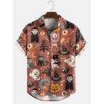 Оригинал              Banggood Дизайн Хэллоуин мультфильма забавный принт с отложным воротником с коротким рукавом рубашки