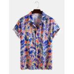 Оригинал              Mens Tropical Растение Лист Рубашки с коротким рукавом с отложным воротником и принтом Light Casual