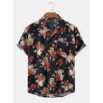 Оригинал              Грудь карман с цветочным принтом Винтаж рубашки с коротким рукавом