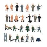 Оригинал              25 шт. 1:87 Нарисованная Микс Модель Разные Люди Позы Рабочих Шкала Украшения