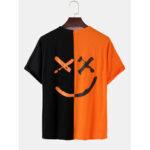 Оригинал              Мужская контрастная пэчворк Happy Face Letter Print Хлопковые футболки с короткими рукавами