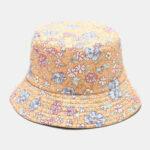 Оригинал              Женская двухсторонняя Лето UV Защита Цветочный Шаблон Повседневный На открытом воздухе Солнце Шапка Ведро Шапка