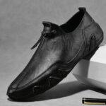 Оригинал              Мужчины Натуральная Кожа Soft подошва нескользящей эластичной кружевной повседневной обуви для вождения
