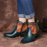 Оригинал              SOCOFY Simple Western Cowgirl с тиснением на низком каблуке с миндальным носком Ботинки
