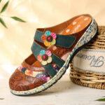 Оригинал              SOCOFY Винтаж Кожа ручной работы с цветочным рисунком Крюк Петля на ремешках Слип на мулов Сабо Плоские туфли