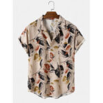 Оригинал              Мужские рубашки с коротким рукавом с короткими рукавами и тонкими карманами с принтом Винтаж Лист