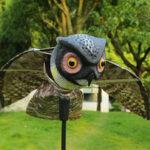 Оригинал              KCASA Realistic Bird-X Prowler Owl Пугало Bird Proof Репеллент Приманка Борьба с вредителями Орчард Птица с подвижными крыльями