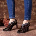 Оригинал              SOCOFY Comfy Натуральная Кожа Colorful Туфли-лодочки на высоком каблуке на молнии с волнистой строчкой