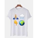 Оригинал              Mens Weather Print Round Шея Повседневные футболки с коротким рукавом