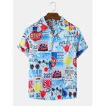 Оригинал              Мужские повседневные рубашки с коротким рукавом с принтом Colorful