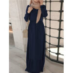 Оригинал              Женщины Puff Sleeve Elastic Waist Long Sleeve Button Retro Халат Maxi Платье