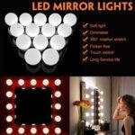 Оригинал              Питание от USB 14 лампочек составляет LED Зеркальный свет Набор Туалетный столик в стиле Голливуд с регулируемой яркостью Лампа