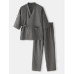 Оригинал              Хлопковые мужские сплошные цвета в японском стиле кимоно Халаты Домашний пижамный комплект